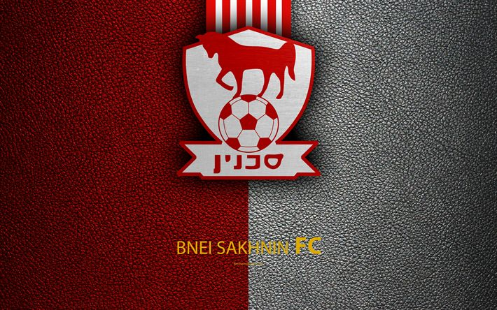 Download wallpapers Bnei Sakhnin FC, 4k, football, logo, emblem, leather texture, Israeli football club, Ligat HaAl, Sahnin, Israel, Israeli Premier League