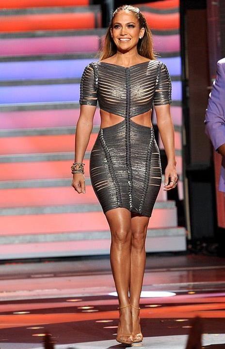 Jennifer Lopez Herve Leger 2012 Cutout braided Metallic Dress. Jennifer loves bandage dresses