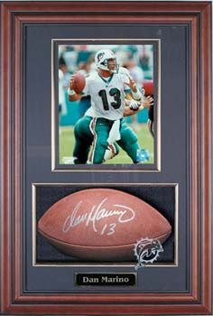 """Gorgeous Football shadow box display! Holds full size football and 8 x 10 picture. Includes optional team logo. Football and picture not included. 8 1/2"""" deep."""