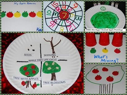 """Apple Life Cycle Paper Plate Craft, Apple Addition Wheels, Apple Patterning, Apple Sugar Sensory Craft, and Apple Tree with created Apples to accompany the poem """"Way Up High in the Apple Tree""""  #preschool #kindergarten #childcare #homeschool"""