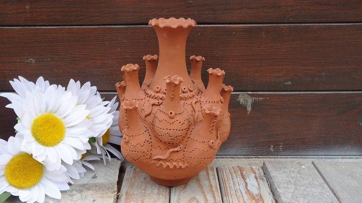 Vintage Terra Cotta Tulipiere Vase, 11 Finger Vase, 11 Neck Vase, Tulip Vase, Snake Vase, Primitive Rustic Signed Home Decor by Grandchildattic on Etsy
