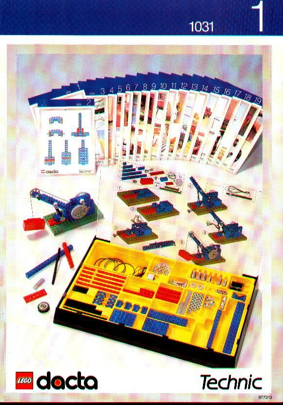 Lego Dacta Technic Set 1031 instructions - each card has a simple tutorial for various Technic techniques and simple machines - levers, pulleys, conveyors, etc.  Awesome!
