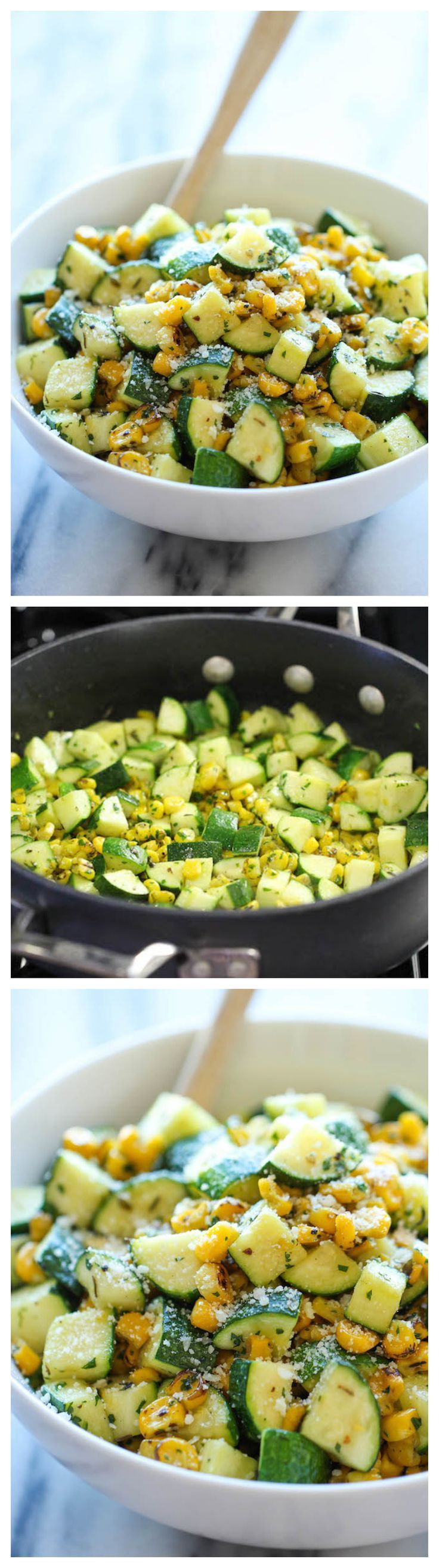 Parmesan Zucchini and Corn ~ Natural and healthy salad one can eat separately or as a side dish. It is very simple, delightful and looks very colorful and charming.