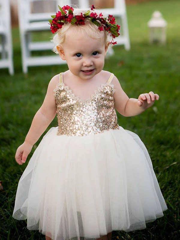 0e1d3a364b0ae Adorable Straps Gold and Ivory Long Flower Girl Dress | Dear future ...