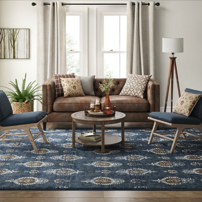 Journey Block Print Floral Rug Navy Threshold With Images