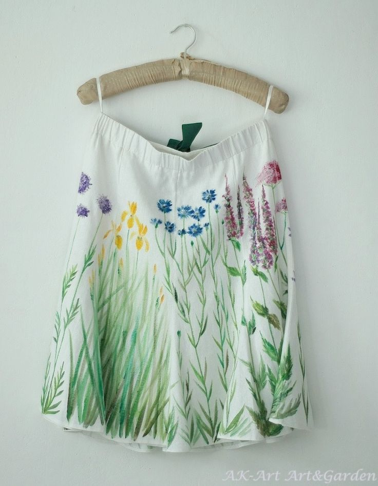 Ręcznie malowana spódnica, len i wiskoza / Hand painted linen and viscose skirt with irises, cornflowers and other flowers