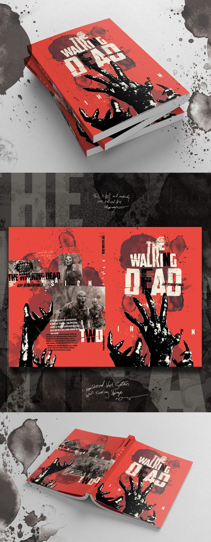 I love reading The Walking Dead novels. So raw and gritty. I decided, after I completed this edition, it needed a redesign. My inspiration really comes from the constant overwhelming pursuit of the dead swarm and my love for deconstructive design. #bookdesign #thewalkingdead #walkers #graphicnovel #deconstructivedesign #bookcover