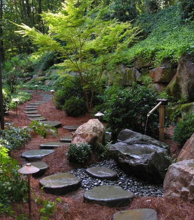 Stepping stone path garden ambiences pinterest for Stone stepping stones for garden paths