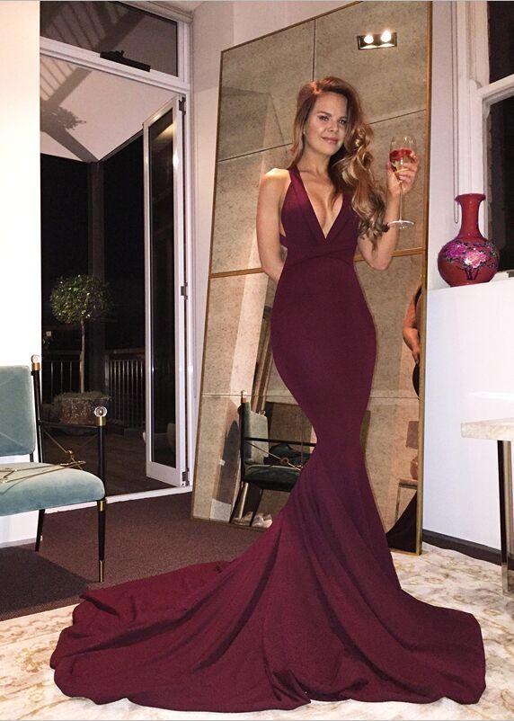 Real Sexy Long Mermaid Prom Dresses,Plum Prom Dress For Teens,Handmade Evening Dresses,Simple Cheap Backless Prom Dresses,Party Dresses,Prom Gowns