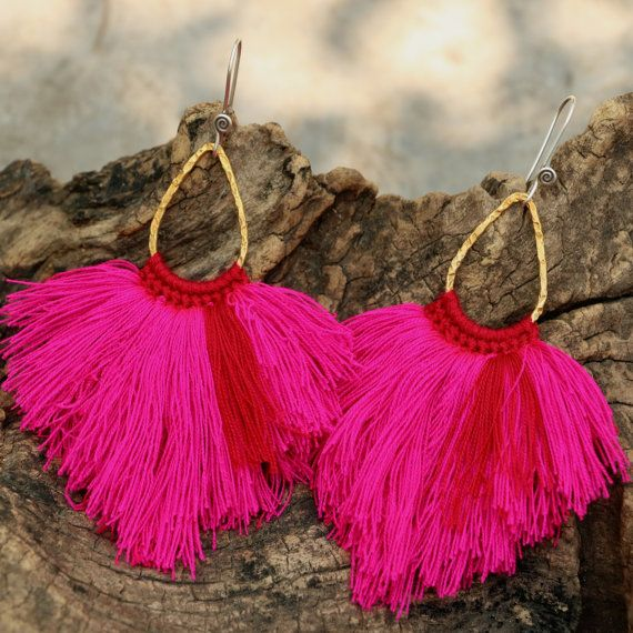 Pink and red fluff earrings with textured brass by cafeandshiraz