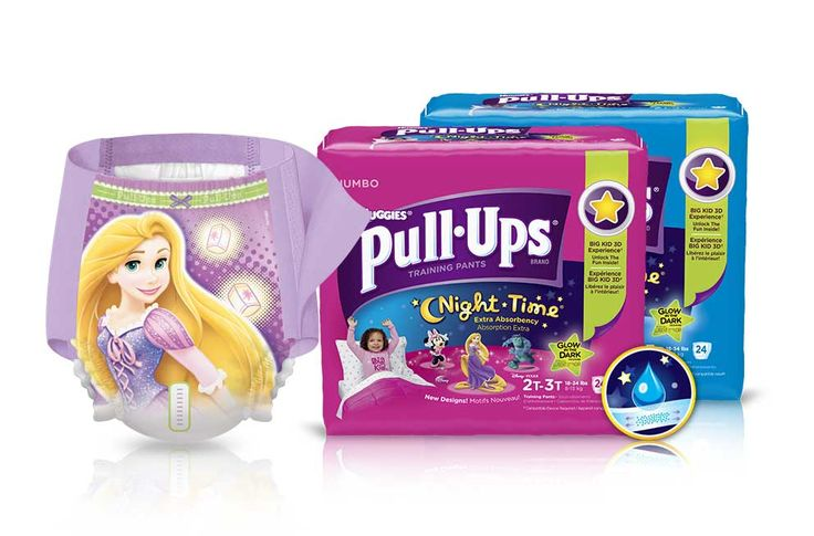 Pull-Ups® Night*Time training pants are extra absorbent for total nighttime protection, so your child can be a Big Kid--day and night.