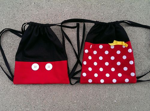 I made these little drawstring backpacks for our trip to Disneyland!  No tutorial, just a picture; sorry!