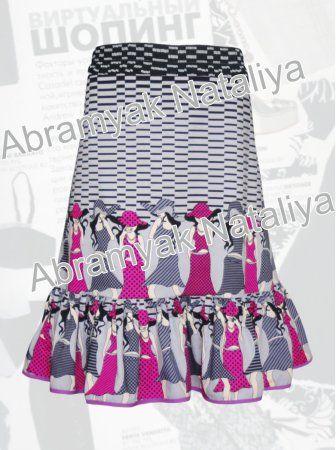 17$ Летняя поплиновая юбка большого размера до середины икры со стильным принтом Артикул 922,р50-64