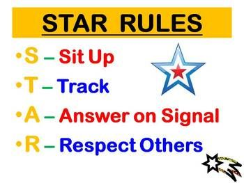Star Rules for SRA and Reading Mastery.  I made this last year and put it on the Smart Board each day and also had it posted in my room incase my technology didn't work.  It's FREE on TPT for any SRA intervention teachers.  :)