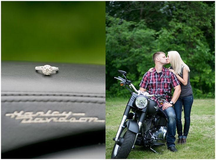 Taylor & Mike {Northwest Indiana Wedding  and Engagement Photographer} Harley Davidson engagement pictures. :)