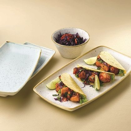 Churchill Stonecast Barley White Oblong Plate and Zest Bowl