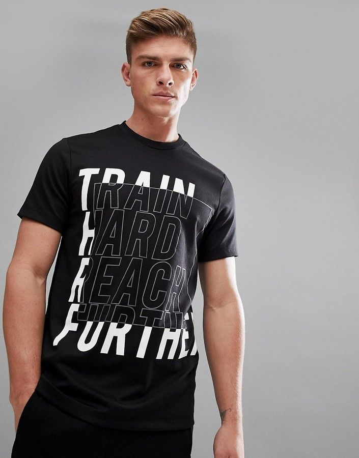 SPORT Slogan T-Shirt In Black
