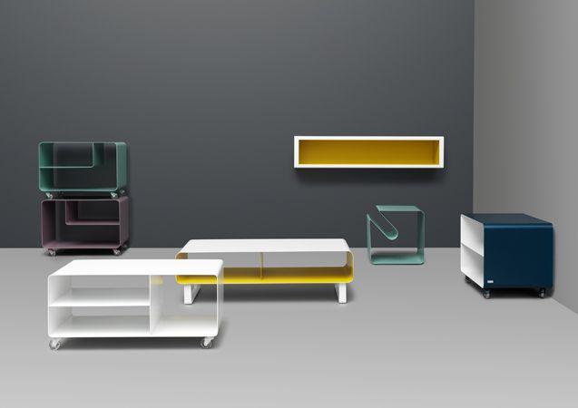 zij zijn strak en kleurrijk: tv/muziek/bed/bureau meubeltjes van Muller in alle gewenste RAL kleuren