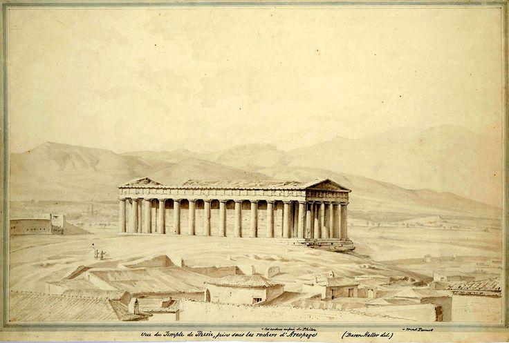 Carl Haller von Hallerstein (1774-1817)-Vue du Temple de Thesee a Athenes, prise sous les rochers de l'Areopag.