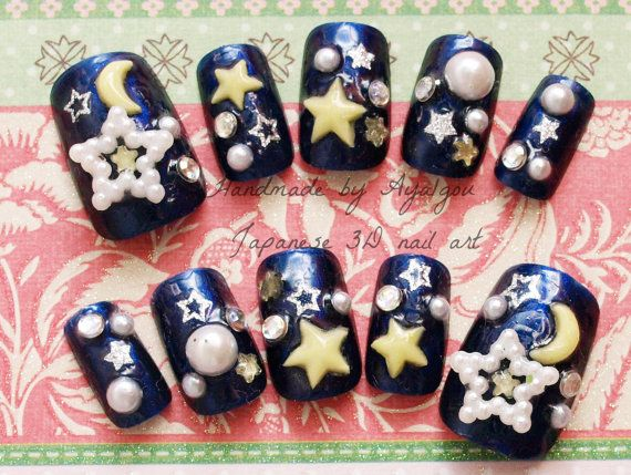118 best japanese nail design images on pinterest japanese nail 3d nails japanese nail art galaxy stars half moon navy prinsesfo Choice Image