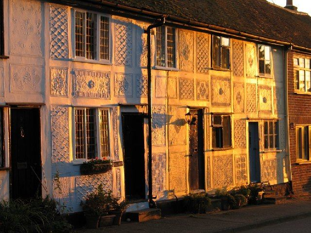 Thaxted Cottages pargetting