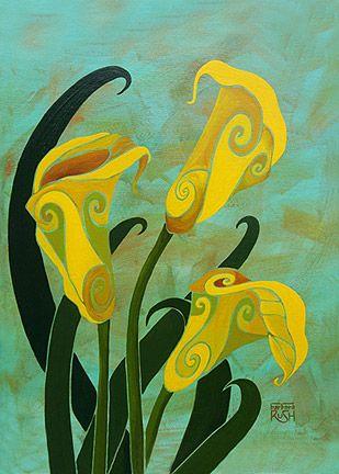 Очаровательные каллы Желтые цветы