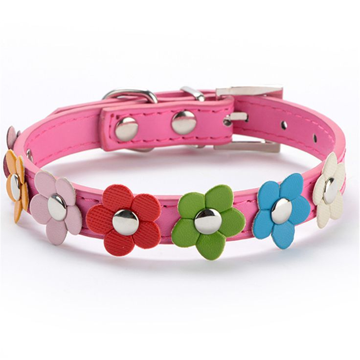Sweet Flower Studded Puppy Pet Dog Cat Collar Leather Buckle Neck Strap Collar #Affiliate