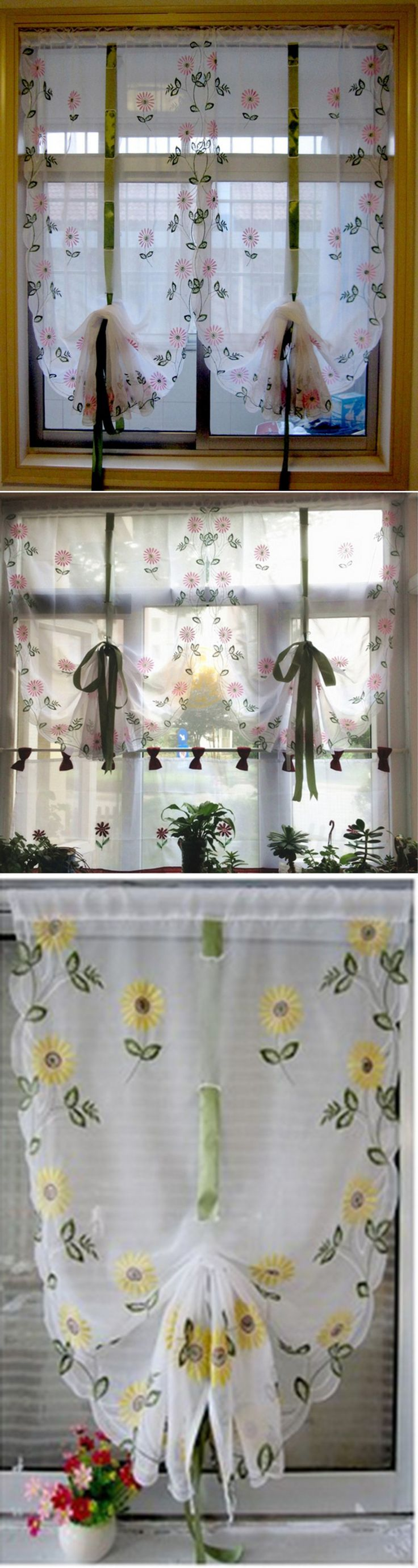 Balloon curtains kitchen - 2016 New Embroidery Daisy Rustic Window Screening Balloon Curtain Roman Lifting Tulle Voile Curtains The Finished Product