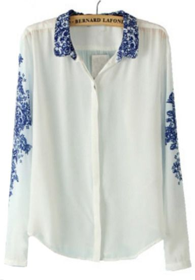 White and Blue Porcelain Print Chiffon Blouse -SheIn(Sheinside) Mobile Site