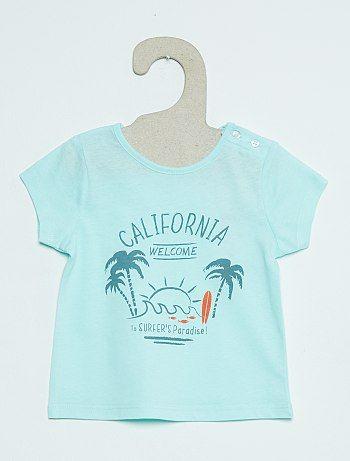 Bedrukt T-shirt met korte mouwen                                                                                                                                                                             blauw Jongens babykleding  - Kiabi