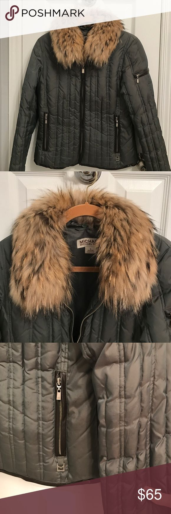 Olive green Michael Kors winter jacket Olive green Michael Kors winter jacket size small. Fur accent around the collar that is removable. Leather accents by the pockets, main zipper and cuffs. MICHAEL Michael Kors Jackets & Coats