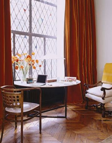 Q: Ever since I saw Ina Garten's orange velvet curtains in her Manhattan apartment (featured in House Beautiful), I've been looking for something similar for my living room. The color is not very popular, because I've been looking all over the web for them for more than half a year now.