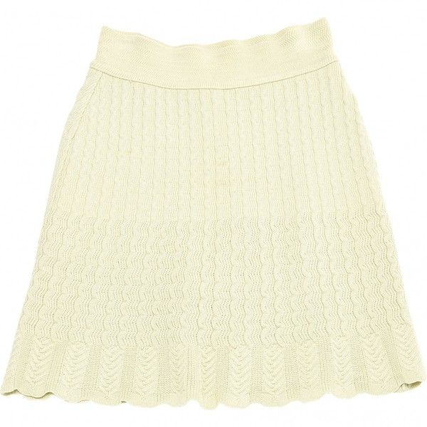 Pre-owned Alaïa Wool Mini Skirt ($245) ❤ liked on Polyvore featuring skirts, mini skirts, green, alaia skirt, short white skirt, white skirt, short wool skirt and short skirts