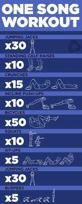 1 song workout                                                                                                                                                      More