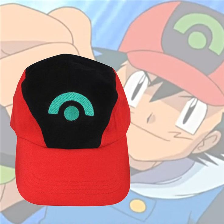 Adorable Pokemon Ash Ketchum Adjustable Baseball Cap Cosplay Black-red  Hat #Affiliate