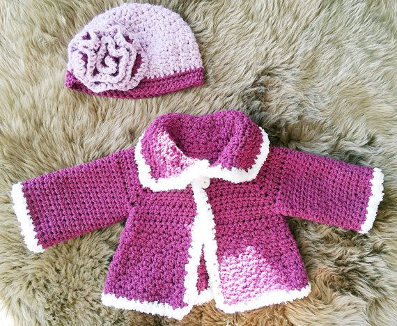 Crochet Baby Sweater, Baby Jacket, Baby Sweater, Baby Hat, Coming Home Outfit, Baby Shower Gift, Crochet Baby Cardigan, Baby Cardigan