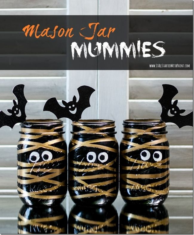 Mummy Mason Jars for Halloween