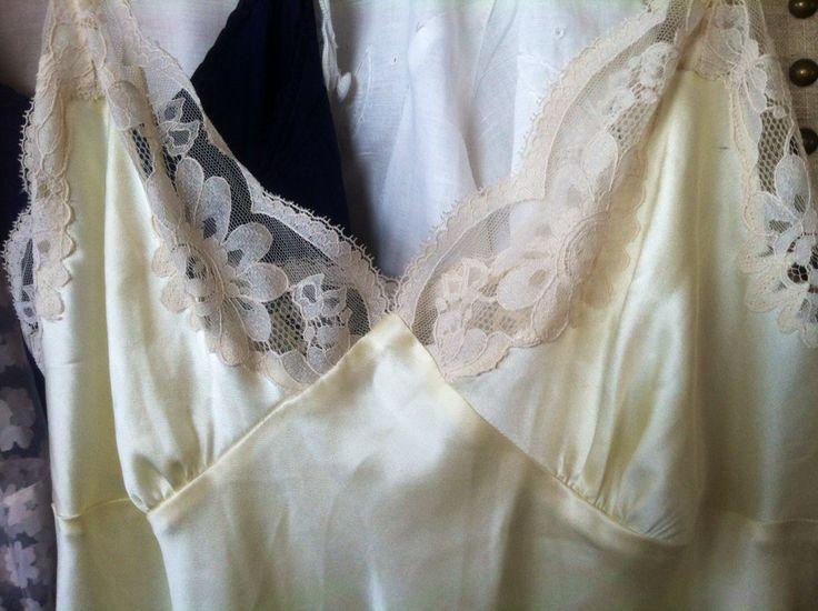 Vintage cream silk full length slip retro silk lingerie for Full length slip for wedding dress