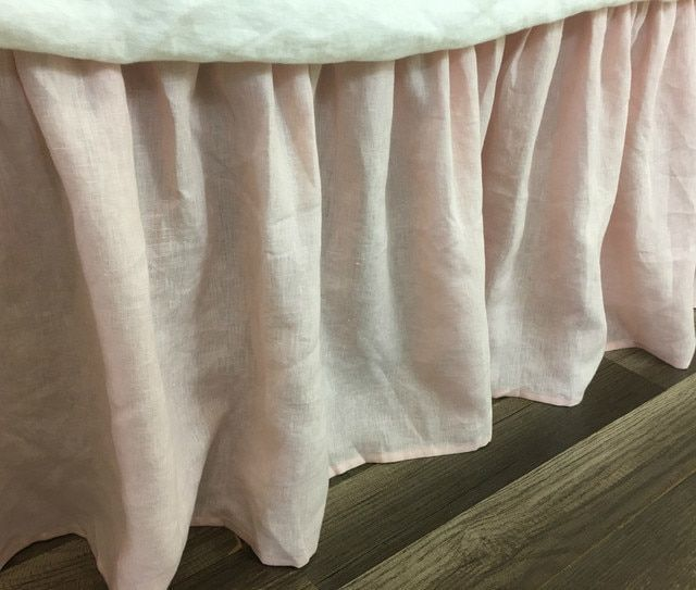 Dogwood Pink Linen Bed Skirt With Gathered Ruffle