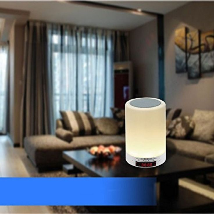 Touch table lamp bluetooth portable speakers vsspeed wireless smart bedside lamp night light clock mic