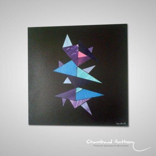 Tableau abstrait aux formes géométriques sur un fond noir. Une peinture abstraite originale adapté aux interieurs modernes. Technique : Acrylique sur toile. Dimensions : 50cm x 50cm