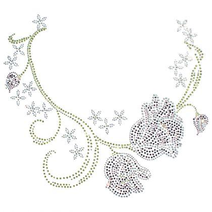 14x12  - TULIP NECKLINE (STONES) - Fashion, ladies, neckline, Rhinestone, stone, tulip, Material Transfer, Necklines