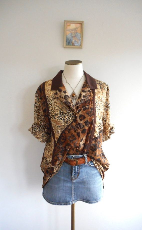 Vintage 80s Leopard Print Blouse // Abstract Animal Print //