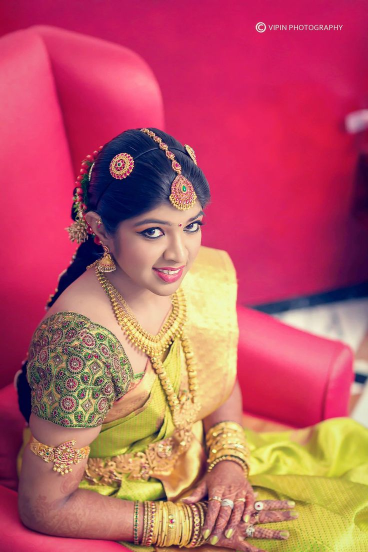 South Indian bride. Temple jewelry. Jhumkis.Green silk kanchipuram sarees with embroidered blouse.Braid with fresh jasmine flowers. Tamil bride. Telugu bride. Kannada bride. Hindu bride. Malayalee bride.Kerala bride.South Indian wedding.