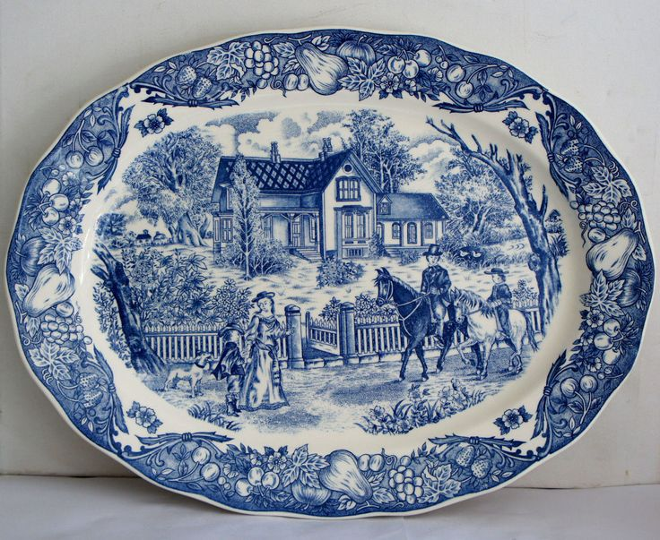 VINTAGE TRANSFER BLUE AND WHITE PORCELAIN LARGE PLATE.