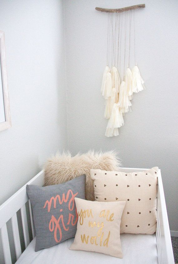 Grey, Coral, Cream, and Gold Nursery Inspiration from Bright July on Etsy - You Are My World Pillow, Cream and Metallic Gold Handwritten Pillow