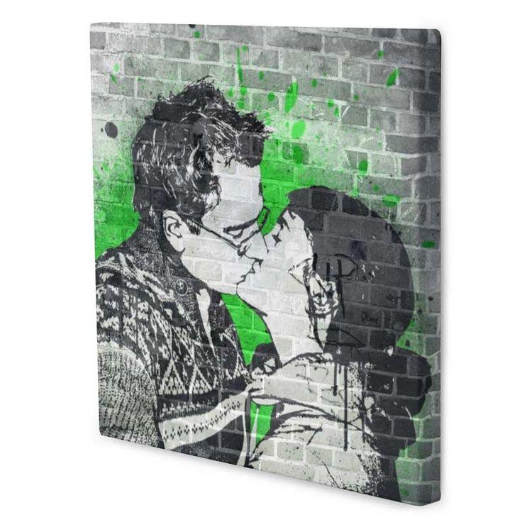 Il bacio degli innamorati con effetto pop art Bansky