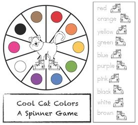FREE Pete the Cat spinner game that reinforces color & color words.  Great to go along with Pete the Cat: I Love My White Shoes story.