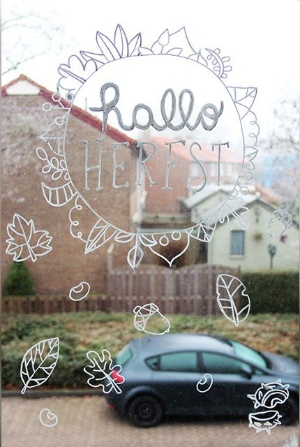 Hallo herfst en herfst natuur #raamtekening door It's Wendy