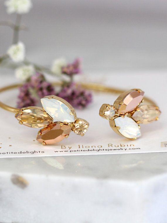 Rose Gold Bracelet, Bridal Bracelet, Bridal Champagne Bracelet, Swarovski Cuff Bracelet, Bridesmaids Bracelets, Gift For Her, Gold Bracelet Petite